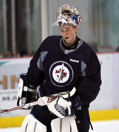 Eric Comrie at the Winnipeg Jets Development Camp Tuesday at the MTS Iceplex in Winnipeg