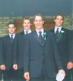 Kelly, Nolan, Travis and Darcy Zajac (from left) in their Sunday best for Travis's wedding.