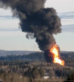 A large fireball rises from the site of a train derailment in New Brunswick Friday, Jan. 10, 2014 as officials used a controlled explosion to blast holes in three tanker cars. CN spokesman Jim Feeny says the procedure they used is known as vent and burn, and preliminary indications are that it went according to plan. THE CANADIAN PRESS/Kevin Bissett