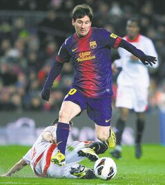 FC Barcelona's Lionel Messi is a piece of dynamite who can explode in the face of an opponent at any time.