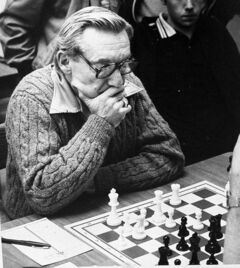 Abe Yanofsky plays chess at the Manitoba Open Chess Championship in 1984. Following a victory against Mikhail Botvinnik in 1946, Yanofsky was invited to play at a special tournament in Reykjavik, Iceland, where he played against and inspired future chess star Fridrik Olafsson.
