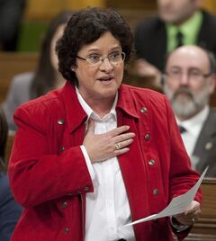 Francoise Boivin, NDP MP for Gatineau, rises during question period in the House of Commons on Parliament Hill in Ottawa on February 2, 2012. The federal Justice Department has chopped $1.2 million from its research budget, and is tightening control to ensure future legal research is better aligned with the government's law-and-order agenda. THE CANADIAN PRESS/Adrian Wyld
