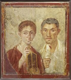 A wall painting of the baker Terentius Neo and his wife, from the House of Terentius Neo, Pompeii, AD 50-79. (AP Photo/The Trustees of the British Museum)