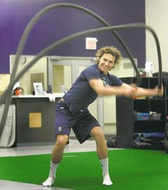 Jets centre Alexander Burmistrov uses battle ropes during a workout  at Focus Fitness in the MTS Iceplex Friday.