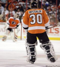 Philadelphia Flyers goalie Ilya Bryzgalov skates out to the net to replace Sergie Bobrovsky during the second period of Thursday's high-scoring affair against the Jets.