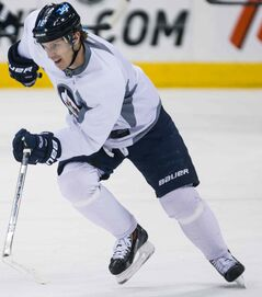 Bryan Little skates at practice at the MTS Centre Thursday morning.