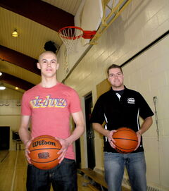 Alex Meseman (left) and Chris Fossen were able to raise more than $2,500 for the Heart and Stroke Foundation of Manitoba at their charity basketball game.