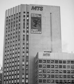 The MTS buildings at Main Street and Pioneer Avenue.