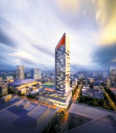 An artist's rendering of the proposed multi-use, 55-storey SkyCity development at Graham Avenue and Smith Street.