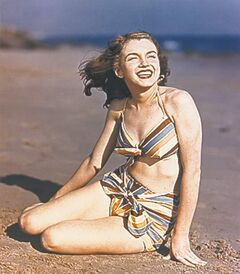 Norma Jean Baker had not yet bleached her hair blond.