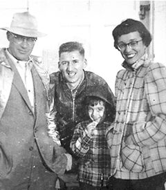 Soody Kleiman (centre) and Leona Billinkoff, who was the first camp 'mother' at Camp Massad and worked with Soody that first summer. Leona's husband Alex, who is deceased, and her daughter Batya, who was a camper that first year, are also shown.
