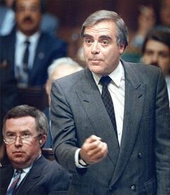 Energy Minister Marcel Masse speaks in the House of Commons in Ottawa on Oct. 6, 1987. Masse, a Quebec politician who served in the cabinet of Brian Mulroney, has died at the age of 78. THE CANADIAN PRESS/Chuck Mitchell
