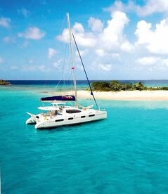 A catamaran on the water.