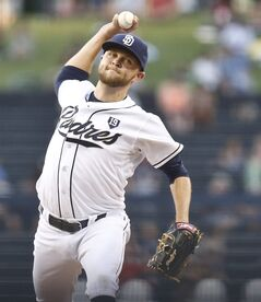San Diego Padres starting pitcher Jesse Hahn throws against the St. Louis Cardinals in the first inning of a baseball game Wednesday, July 30, 2014, in San Diego. (AP Photo/Lenny Ignelzi)