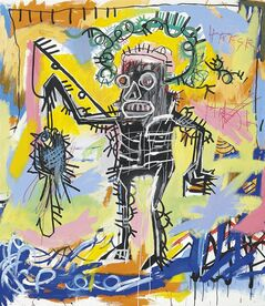 "This undated photo provided by Christie's shows Jean-Michel Basquiat's ""Untitled 1981"". Christie's auction house says the colorful acrylic and oilstick canvas could set a new record for the graffiti artist when it's offered in the fall. The current record is $20.1 million."