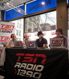 TSN Radio 1290 broadcasting live from the Winnipeg Free Press News Café all day on Wednesday. On the stage for the noon hour, (l-r) are Dennis Beyak, Brian Muniz, Shane Hnidy and Rick Ralph.