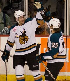 FILE - Manitoba Moose Aaron Volpatti celebrates his third period goal with teammate Yan Stastny against the Hamilton Bulldogs at the MTS Centre in April.