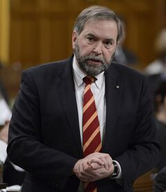 NDP Leader Tom Mulcair rises during Question Period in the House of Commons on Parliament Hill in Ottawa, in a file photo.