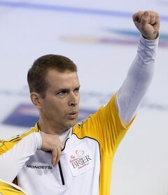 Manitoba skip Jeff Stoughton celebrates at the Tim Hortons Brier in Edmonton in this archive photo.