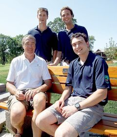 Gerry Price, father of Travis Price, with Adam Coates, Connor McGarry and Taylor Ethans, from left, are organizers of the Travis Price Classic golf tournament held Monday at Niakwa Country Club.