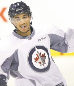 Winnipeg Jets Evander Kane during the morning skate before game against the Minnesota Wild Tuesday night� December 13, 2011   (JOE BRYKSA / WINNIPEG FREE PRESS)