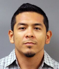 FILE - This file photo provided by the Harris County, Texas, Sheriff's Department shows Uriel Landeros. Landeros, accused of vandalizing a 1929 Pablo Picasso painting in an act that was caught on cellphone video, has pleaded guilty in exchange for a two-year prison sentence. Landeros had faced felony graffiti and criminal mischief charges accusing him of spray-painting