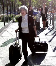 Sheila Block, Justice Lori Douglas's lawyer, walks to the Canadian Judicial Council's inquiry Friday morning.