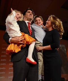 Justin Trudeau, his wife Sophie Gregoire and their children Xavier and Ella-Grace, celebrate on Sunday April 14, 2013 in Ottawa. THE CANADIAN PRESS/Sean Kilpatrick