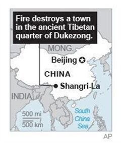 Map locates Shangri-La County, China, where a fire destroys a town in the ancient Tibetan quarter of Dukezong.; 1c x 3 inches; 46.5 mm x 76 mm;