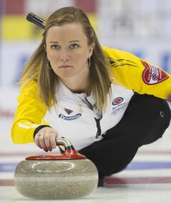Team Manitoba skip Chelsea Carey delivers her rock to team Prince Edward Island during draw 17 curling action at the Scotties Tournament of Hearts competition in Montreal, Friday.