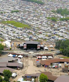 An aerial view of the site. This year's event includes 300 more parking spots and 2.4 new hectares of camping area.