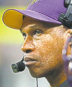 Minnesota Vikings head coach Leslie Frazier watches the action in the second quarter at the Edward Jones Dome on Sunday, December 16, 2012, in St. Louis, Missouri. The Minnesota Vikings defeated the St. Louis Rams, 36-22.