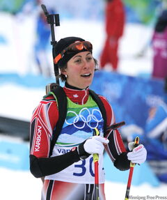Megan Imrie finishes 76th in the women's 7.5km sprint during the 2010 Winter Games.