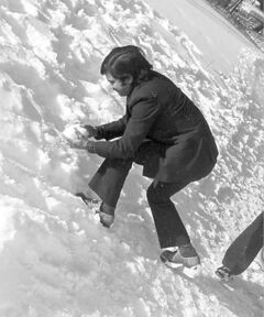 Sushil Sharma gets a snowball ready in 1974.