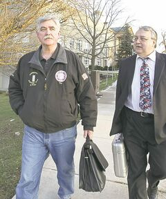 Ian Thomson says a judge in Welland, Ont., acquitted him Thursday of firearms-related charges in connection with a 2010 incident in which he fired three warning shots at a group of men who set his Ontario home ablaze with firebombs. Some experts say the ruling by Justice Tory Colvin could have wide-ranging implications for self-defence law in Canada.  Ian Thomson (left), with lawyer Ed Burlew.