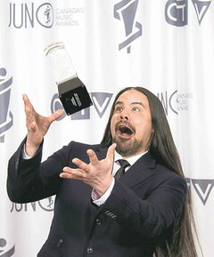 George Leach celebrates his Juno win for Aboriginal Album of the Year.