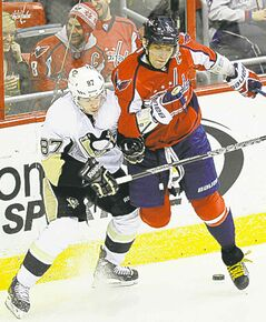 Alex Ovechkin (right) and Sidney Crosby are both playing at a very high level this season.