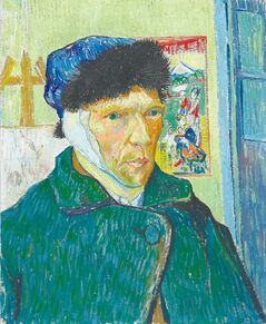 Van Gogh's  Self-portrait with  Bandaged Ear, Easel and Japanese Print, January 1889.  'There's a whole Van Gogh  industry: books, films, songs,  merchandise,' arts and culture writer Alison Gillmor says.