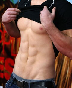 Actor Arthur Napiontek  flashes his abs.
