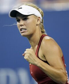 Caroline Wozniacki, of Denmark, pumps her fist after winning a point against Sara Errani, of Italy, during the quarterfinal round of the 2014 U.S. Open tennis tournament, Tuesday, Sept. 2, 2014, in New York. (AP Photo/Charles Krupa)
