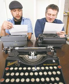 Type-cast:  Dave  Streit, left, and Christoff Engbrecht of the writing collective Poor Tree.