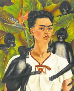 Artist  Frida Kahlo is shown in Self-Portrait with Monkeys (1943).