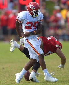 Kansas City Chiefs safety Eric Berry (29) keeps Anthony Fasano (80) from catching a pass during a NFL training camp, Wednesday, July 30, 2014 on the Missouri Western State University campus in St. Joseph. Mo. (AP Photo/St. Joseph News-Press, Todd Weddle)