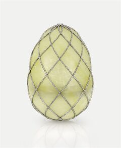 The 1891 imperial diamond trellis egg by Faberge workmaster August Holmstrom is shown in this undated photo from the Houston Museum of Natural Science. The egg, on display at the museum as part of the largest private collection of items in the United States from the Russian artisan Peter Carl Faberge, was a gift of Tsar Alexander III to Tsarina Maria Feodorovna on Easter, 1892. Featuring more than 350 objects, the exhibit