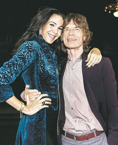Mick Jagger with L'Wren Scott after her fall collection was modelled during Fashion Week in New York in February.