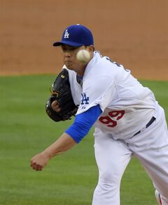 Los Angeles Dodgers starting pitcher Hyun-Jin Ryu, of South Korea, throws to the plate during the second inning of a baseball game against the Chicago Cubs, Saturday, Aug. 2, 2014, in Los Angeles. (AP Photo/Mark J. Terrill)