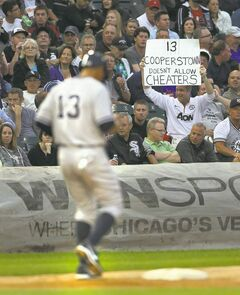 A fan lets the returning Alex Rodriguez know what he thinks of him during Monday night's Yankees-White Sox game at US Cellular Field in Chicago.