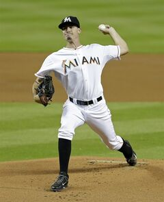 Miami Marlins' Andrew Heaney pitches against the New York Mets in the first inning of a baseball game in Miami, Thursday, June 19, 2014. (AP Photo/Alan Diaz)