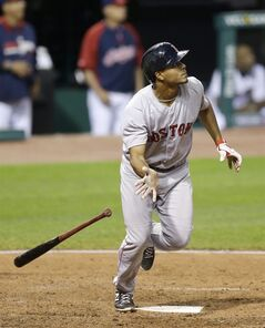 Boston Red Sox's Xander Bogaerts watches his ball after hitting a two-run home run off Cleveland Indians relief pitcher Bryan Shaw in the eighth inning of a baseball game, Monday, June 2, 2014, in Cleveland. Brock Holt scored. (AP Photo/Tony Dejak)