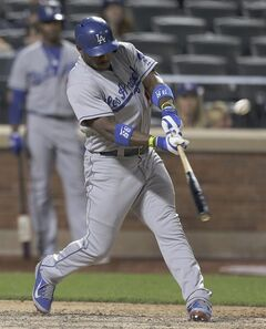 Los Angeles Dodgers right fielder Yasiel Puig (66) connects for a double against the New York Mets during the sixth inning of a baseball game, Tuesday, May 20, 2014, in New York. (AP Photo/Julie Jacobson)